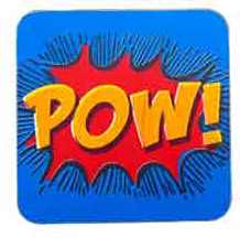 Coaster with the word Pow offered for sale in the BL Shop in 2014