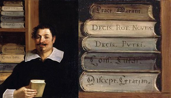 On the left is a painting of a man holding a book. The man has curly hair, a moustache, and a goatee, and he is wearing a black top with a white collar and white cuffs. Behind the man is a shelf of books stacked on their boards (as opposed to shelved spine-out as we typically see books today). On the right is a close-up crop of the books on his shelf.