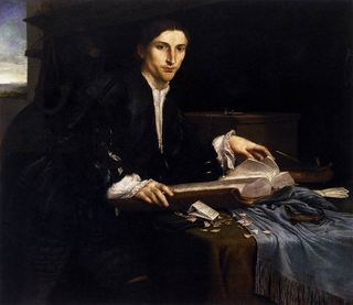 A man sits at a desk with an open book. He is wearing a black jacket with a white shirt just visible underneath. What appears to be a window showing an evening sky (setting sun) is behind him. In general this painting is very dark in colour.