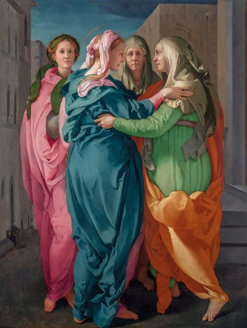Pontormos's 'Visitation' showing Mary and Elizabeth embracing with two female attendants standing behind them