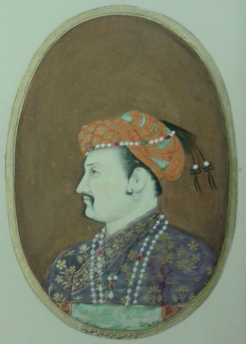 The Emperor Jahangir.  By Muhammad Husayn, son of Muhammad Khan.  Bijapur, 1660-70.  Opaque water-colour with gold.  Oval: 112 by 78 mm.  Add.Or.4243.