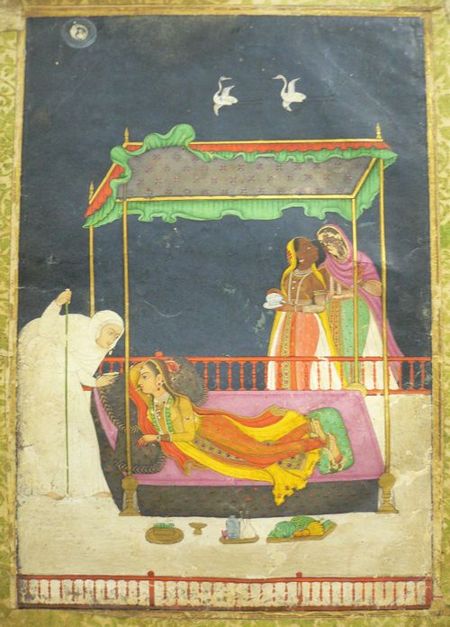 A lady pining for her absent lover.  Hyderabad, c. 1740-50.  Opaque pigments with gold and silver.  215 by 150 mm. Johnson Album 50, 4.