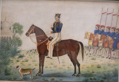 Lt. John Gustavus Russell with sowars of the Kurnool Irregular Horse.  By a Kurnool artist, c.1850. Water-colour with gold.  24 by 34 cm. Add.Or 4661