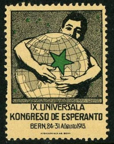 Commemorative stamp for the 9th Esperanto Congress with an image of a man holding a globe  with a super imposed green star