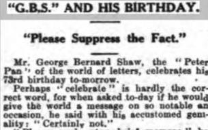 Article from Gloucester Citizen 25 July 1929 about Shaw not celebrating his birthday