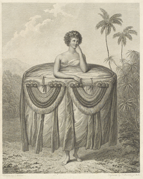 'A girl bringing presents to Captn Cook', wearing a 'dress' consisting of a large quantity of tapa cloth bound about her waist, intended as a gift for Cook.  Drawn by John Webber and engraved by Francesco Bartolozzi, from Cook's Third Voyage (1776-1780). British Library, Add.23921 f.48.