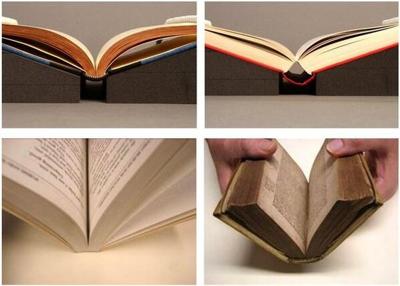 Four images showing books opened at various angles: the top two images are books open at gentle angles on black foam book wedges, the bottom left is a paperback book opened without any supports and the bottom right shows a hardback book being opened with no supports.