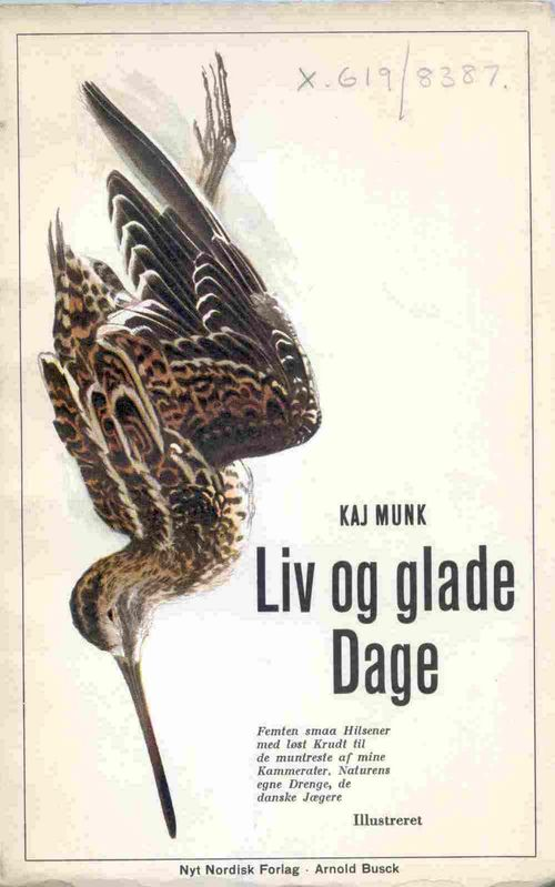 Cover of 'Liv og glade Dage' with a picture of a dead bird