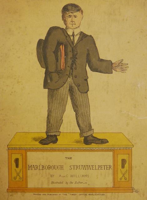 Cover of 'The Marlborough Struwwelpeter' with a caricature of a Marlborough school boy