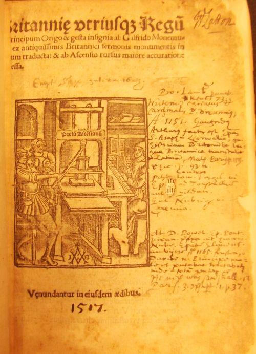 Title-page of 'Britanniae utriusque Regii… Origo' with a woodcut of a printing press and manuscript notes