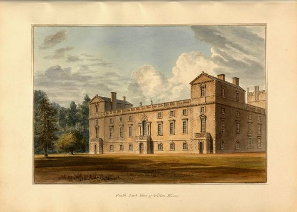 A print of Wilton House, showing a large home surrounded by grass and trees. The print is in colour.