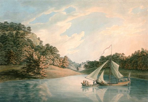 In this colour print, two boats meet on a lake which is surrounded by greenery. It appears to be nearing sunset with the cloud-filled sky shifting from blue in the top left toward pink in the top right.