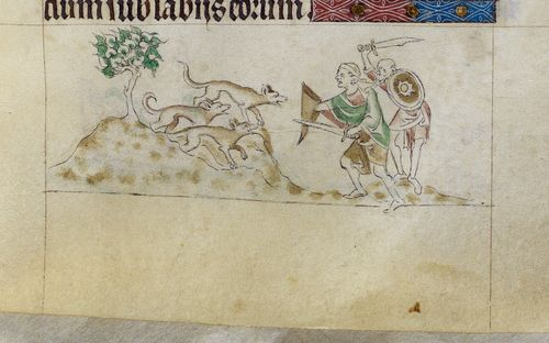 A detail from the Queen Mary Psalter, showing a marginal illustration of dog-like ants.