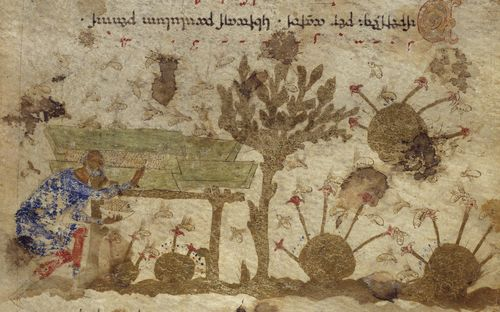 A detail from the Exultet Roll, showing an illustration of bees and a beekeeper.