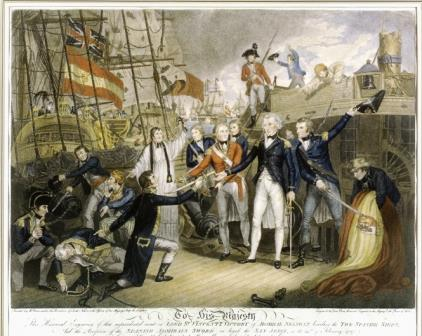 Battle of Cape St. Vincent - Nelson boarding the San Josef and receiving the Spanish Admiral's sword