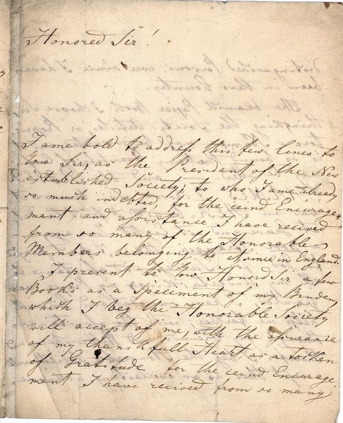 First page of Meyer's letter, beginning 'Honoured Sir!'