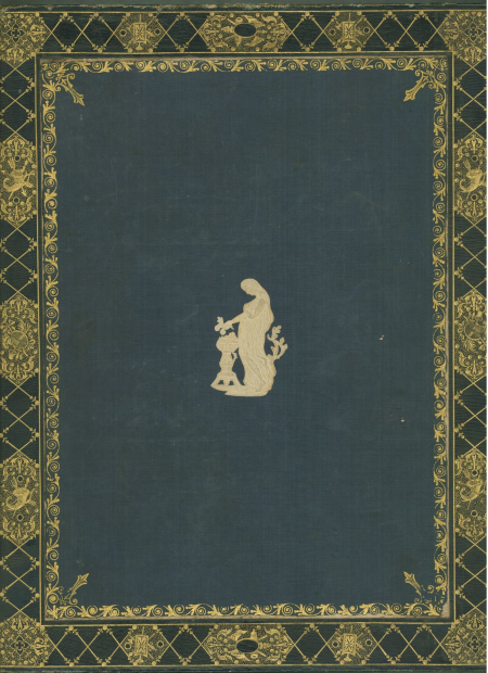 Bookbinding with gold tooling on a blue background and and a central vignette off veiled female figurew