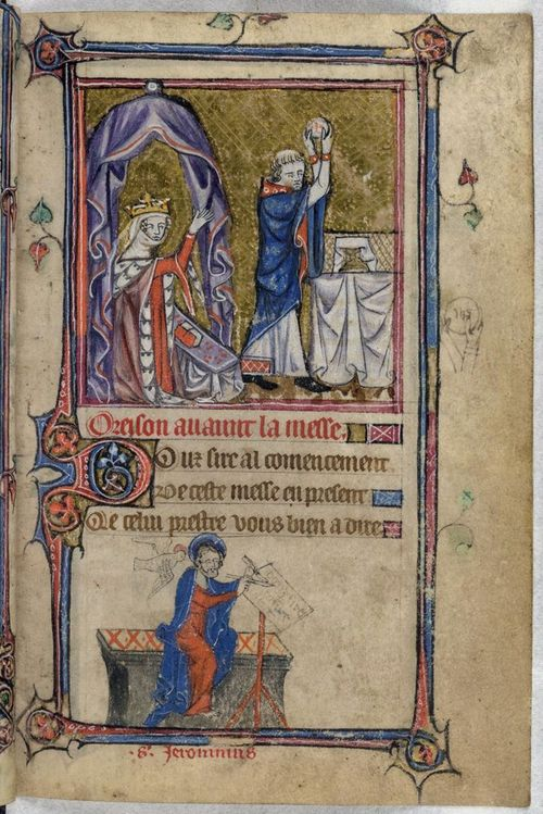 A page from the Taymouth Hours, showing an illustration of a crowned woman and a priest, with a marginal illustration of St Jerome.