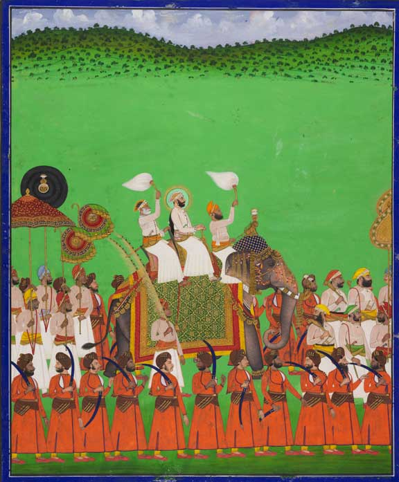 Maharana Fateh Singh of Udaipur atop an elephant, attributed to Shivalal, Udaipur (Rajasthan, India), c. 1888-89. British Library, Add.Or.5603
