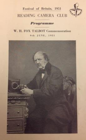 Programme of Reading Camera Club with photo of Fox Talbot