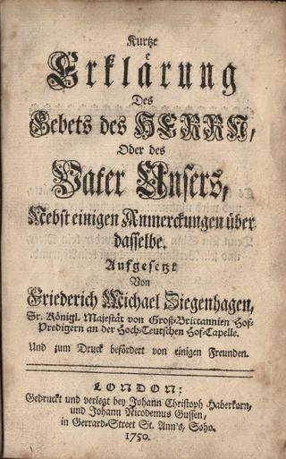 Title page of Ziegenhagen's 'Kurtze Erklärung des Gebets des Herrn'