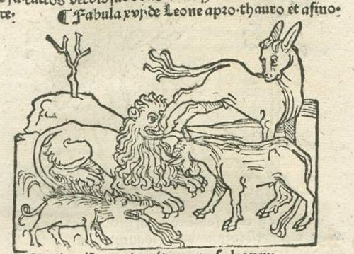 Woodcut of a lion being attacked by other animals