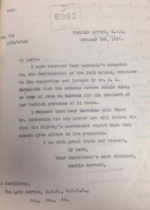 Balfour's private secretary' letter to Bertie 3 October 191