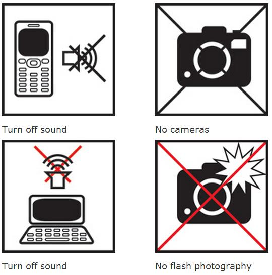 The top left icon is a cell phone with a volume symbol crossed out beside it, indicating to turn sound off. The top right icon is a camera crossed out, indicating no cameras allowed. The bottom left icon shows a laptop with a volume icon above crossed out, reminding readers to turn off any sounds.  The bottom right icon is a camera with the flash going off crossed out, indicating no flash photography is allowed.