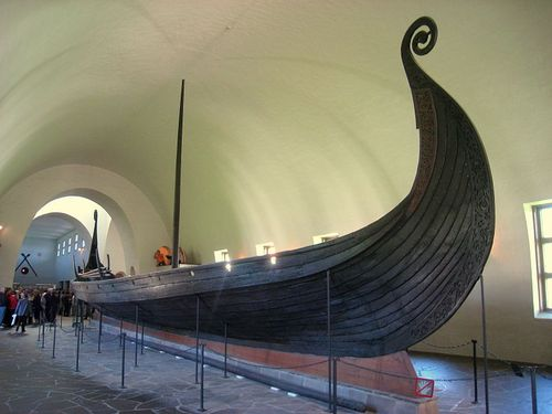Photograph of a Viking ship in a museum