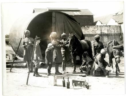 An Indian Cavalry horse hospital in a French factory, 1915.