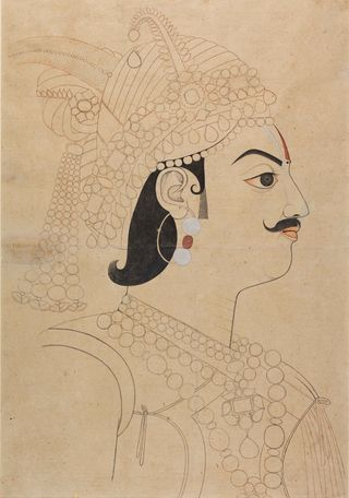 Maharaja Pratap Singh of Jaipur (b. 1764, reg. 1778-1803).  Attributed to Sahib Ram, 1785-90.  Brush drawing with some colour on paper, 610 by 440 mm.  BL Add.Or.5579
