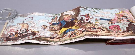 On open book with a concertina page fully extended out and held down with a glass weight in the top left corner. A concertina fold is continuous parallel folding, much like an accordion or a zig-zag pattern.  The image on the page is a comic depicting a ship in crashing waves on the left, in the middle of the comic the is a standing pig character in full colourful clothing in front of a tree, and to the right there is a lagoon with other colourful characters.