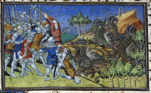 A detail from a 15th-century manuscript, showing an illustration of Alexander the Great and his army fighting horned dragons.