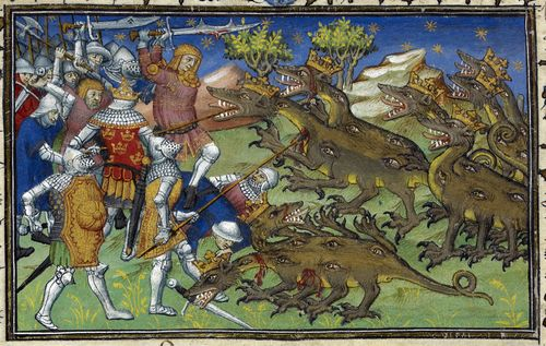A detail from a 15th-century manuscript, showing an illustration of Alexander the Great and his army fighting two-headed dragons.