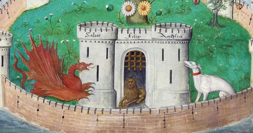 A detail from Magister Sampson's Motets for Henry VIII, showing an illustration of a red dragon, a lion, and a white greyhound.