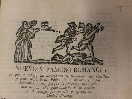 Title page of a chapbook with a woodcut of a woman shooting three men