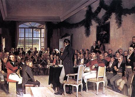 Painting 'Riksforsamlingen på Eidsvoll' showing an assembly of men listening to a speaker