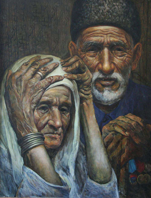 Painting of an old woman with her head in her hands and an old man leaning on a stick