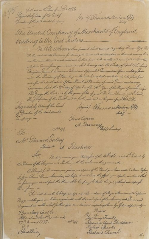 Letter from the Council at Bombay Castle to Edward Galley, Resident at Bushire, 27 January 1787
