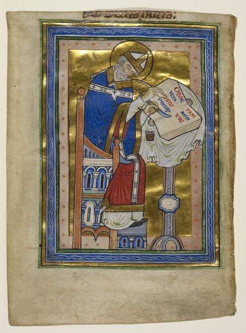 A portrait of St Dunstan writing at a desk.