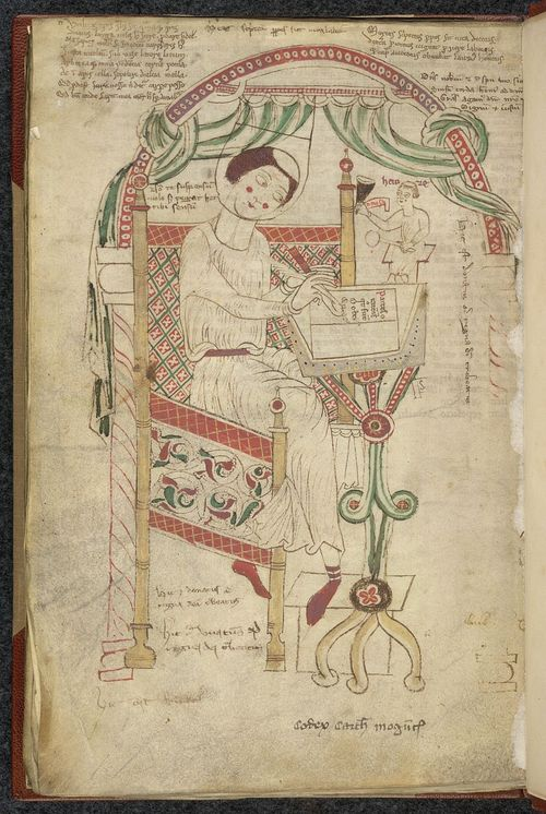 A page from a 12th-century manuscript, showing an illustration of Donatus at work.