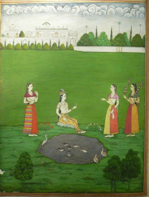 Ajnata yauvana, a youthful maiden unaware of her own flowering. 336 x 257 mm. Deccan, perhaps Aurangabad, 1720-30. British Library, Add.21475, f.5