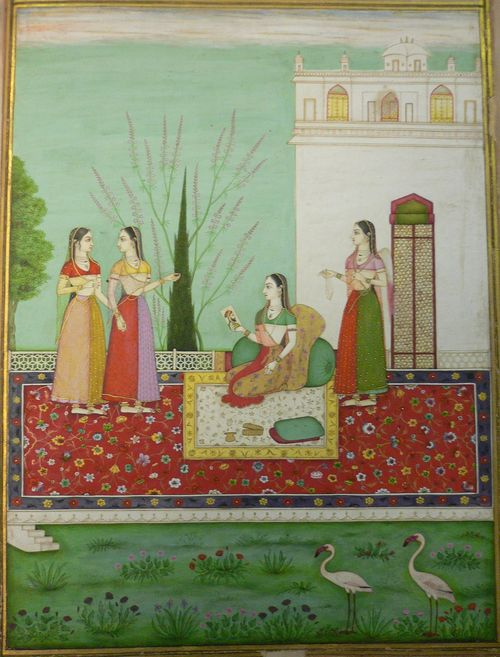 Radha ko prachanna citra darsana, Radha's hidden meeting [with her lover] through a painting (Rasikapriya 4, 8).  335 x 250 mm.  Deccan, perhaps Aurangabad, 1720-30. British Library, Add.21475, f.7