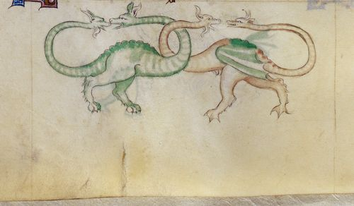 A detail from the Queen Mary Psalter, showing a marginal illustration of two amphivenas.