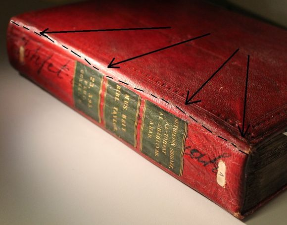 A volume bound in red leather lying on a grey background. On the spine are three black leather labels with the title and shelfmarks tooled in gold. Black arrows point out a ridge in the spine leather where the two pieces covering the spine overlap.