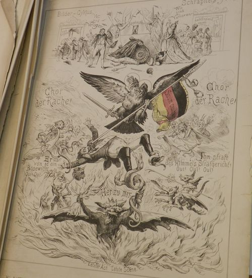 A German eagle stabs Napoleon III and he falls into hell surrounded by a chorus of vengeance while his family flee
