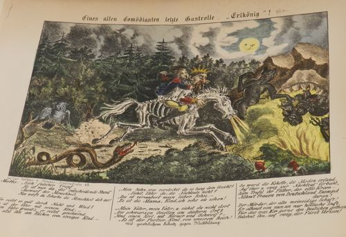 Caricature of Napoleon III and his son riding through a wood on a skeletal horse, with verses beneath