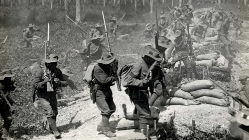 Gurkhas charging a trench in France 1915