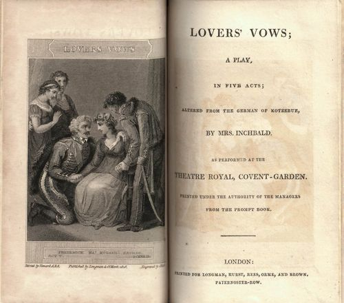 Title-page of 'Lovers Vows' with a frontispiece illustration of a kneeling man addressing a seated woman