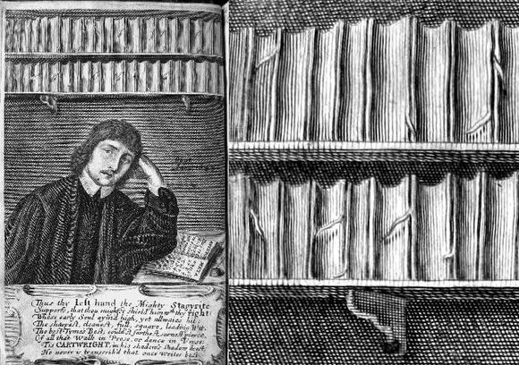 On the left a man sits at a desk with his elbow resting on an open book and his head resting on his hand. Above him sits two shelves on books on the wall. On the right is a closeup of those books.
